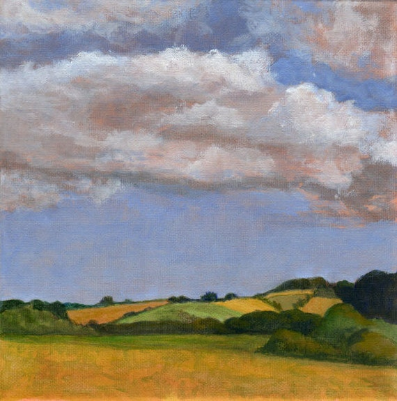 Green Fields and Rolling Hills - Original Landscape Painting on Canvas Clouds and Farmland