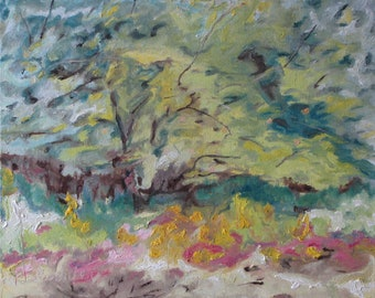 "Art Plein Air Landscape Oil Painting Original Impressionist Abstract Orchard  Quebec Canada By Fournier ""The Apple Tree In August "" 16 x 20"