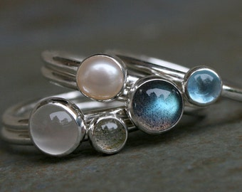 Moonlight on Water Stacking Rings Labradorite Swiss Blue Topaz Pearl Moonstone Set of Five 5 Cabochon Stackable Silver Stack Rings