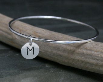 Monogram Initial Charm Bangle Bracelet Sterling Silver Personalized, Stamped Letter Silver Disk Bangle, Custom