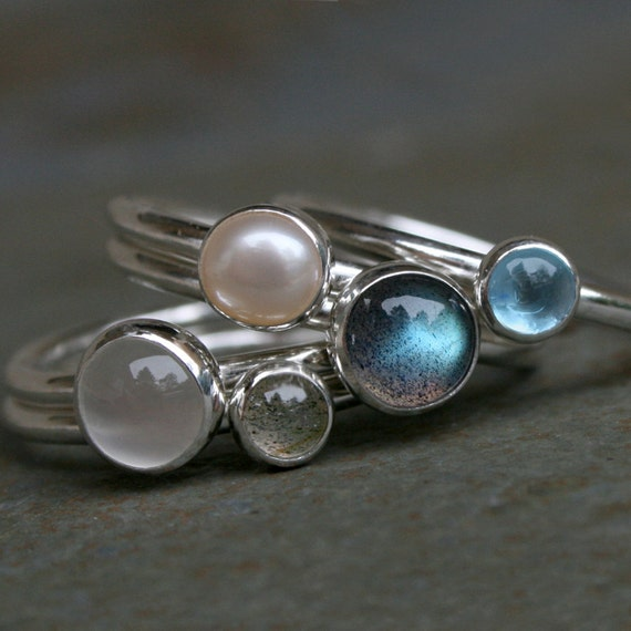 Moonlight on Water Stacking Rings, Labradorite, Blue Topaz, Pearl, Moonstone, Stackable Sterling Silver Stack Rings, Luminous Moon Set of 5
