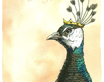 PeaHen Queen  8x10 hand painted print