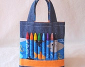 Coloring Tote Crayon Bag Crayon Tote ARTOTE Mini in Shark Attack