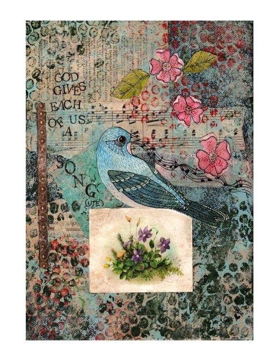 Giclee Art Print of Blue Bird - Collage- Illustration - Bird - Wall Decor - Gift for Music Teacher - Wall Art - Bird Art - Woodland Art