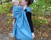 Linen Ring Sling Baby Carrier - 100% Linen in Steel Blue - DVD included - 25 linen color options in shop