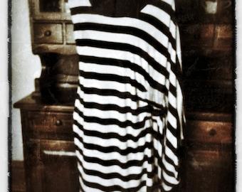 Asymmetrical Striped Knit Dress