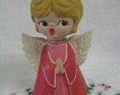 Vintage KITSCH 1960s PINK Ceramic ANGEL Figurine