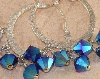 Blue Crystal Hoop Earrings, Sterling Silver, Swarovski, Dark Indigo, 2xAB, Hammered, Wire Wrapped, Handmade Jewelry, DDurda