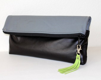 Leather Colorblock Foldover Clutch Laptop Sleeve in Charcoal and Black