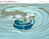 60% OFF SALE Teal Blue Shabby Chic jewelry -Sea Flower - blue ranunculus photo art pendant round silver colored metal shabby chic art jewel