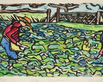 Picking Strawberries - Original Woodblock Print