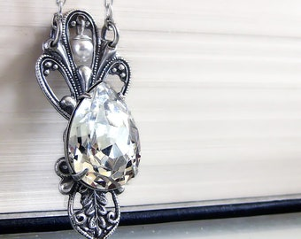 Swarovski crystal pendant swarovski clear crystal silver necklace Victorian Gothic Jewelry Bridal Necklace Jewelry Gift for women mom