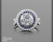 Diamond Engagement Ring - Round Diamond Ring with Blue Sapphire and Diamond Double Halo & Twisted Shank - LS1442