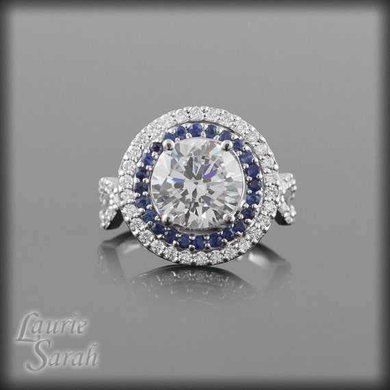 Diamond Engagement Ring, Round Diamond Ring with Blue Sapphire and Diamond Double Halo & Twisted Shank - LS1442
