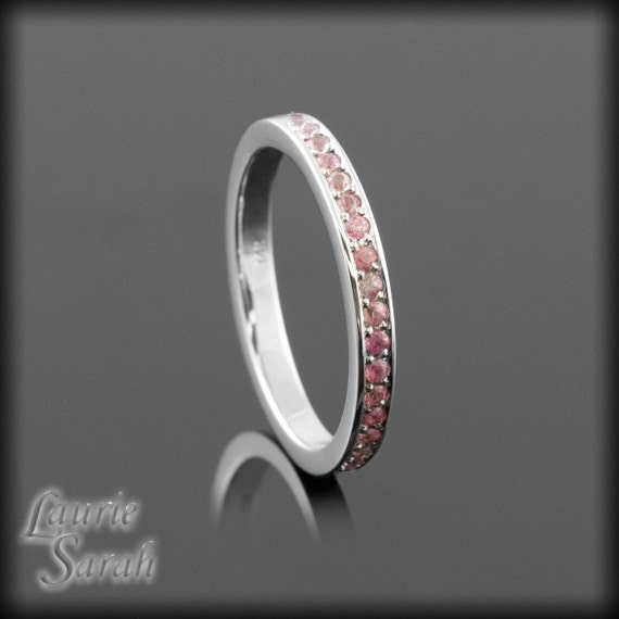 Pink Sapphire Almost Eternity Band - Pave Set with room for sizing - LS1329