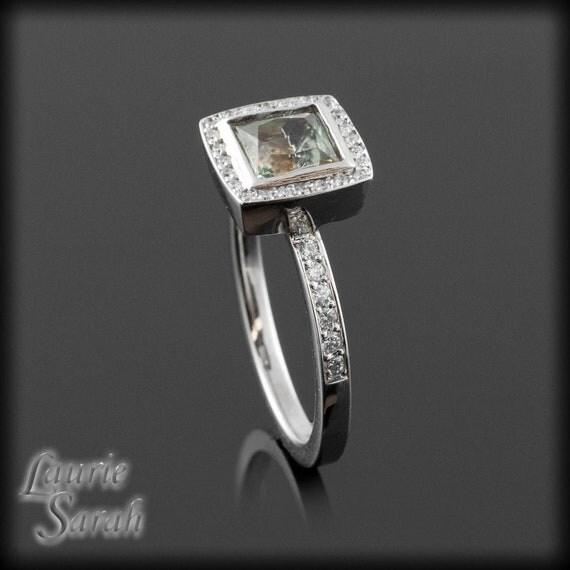 Engagement Ring, Princess Cut Prasiolite Single Halo Ring - Bezel Set Single Halo Ring - LS1915