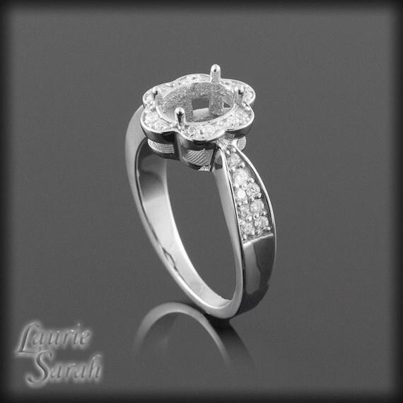 flower engagement ring flower shaped diamond halo engagement. Black Bedroom Furniture Sets. Home Design Ideas