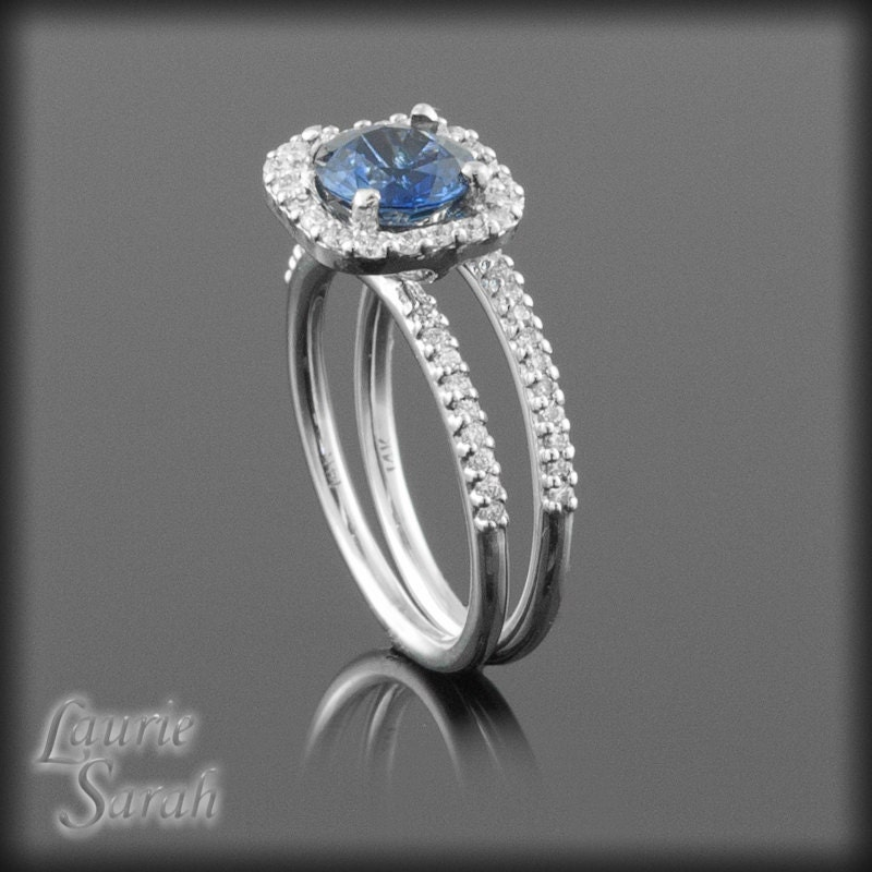 Sapphire Engagement Ring Round Blue Sapphire Wedding Set With