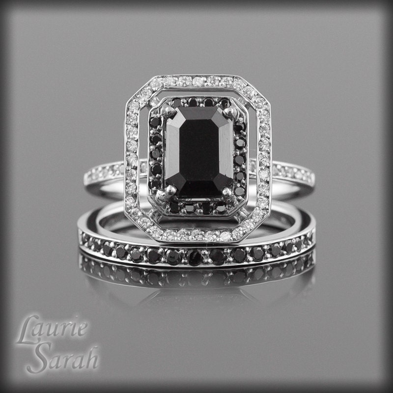 Black Diamond Engagement Ring with Black by LaurieSarahDesigns