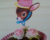 Vintage Deer Cupcake Toppers With Pink Puff Set of Six for Birthday Party