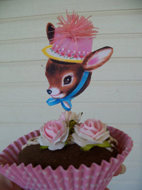 Birthday Decoration Eight Vintage Deer Cupcake Toppers With Pink Puff Set of Six for Birthday Party