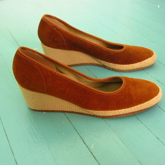 rust suede jute wedge espadrille slip on grasshopper shoes 7 5