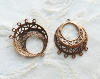 1 Pair of Antique Copper Filigree Hoops 25mm by 30mm