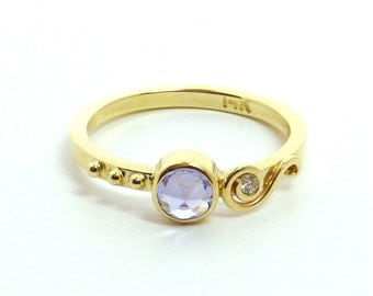 Rose Cut Sapphire Set in 14K Yellow Gold Ring Engagement Ring Wedding Band