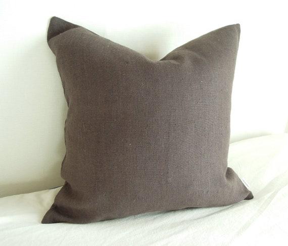 European Hemp Pillow, Bedding, Earth Brown, 18 x 18