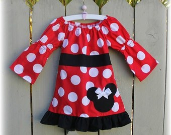 Minnie Mouse Red White Jumbo Dot and Black Fall Peasant Dress
