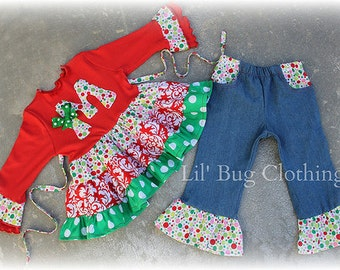 Custom Boutique Clothing Christmas Initial Personalized Denim Pocket  Top and Pant Girl