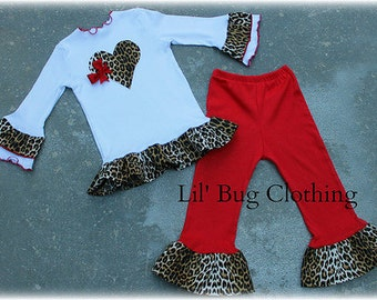 Valentines Leopard Heart Tee And Red Knit Ruffled Leggings Outfit Custom Boutique Girl Clothes