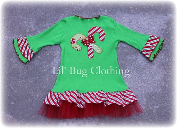Custom Boutique Christmas Holiday  Candy Cane Comfy Lime Knit tulle  Dress Girl