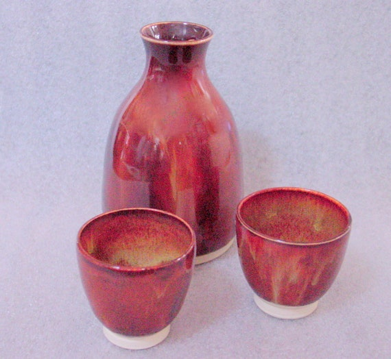 Wheel Thrown Pottery Sake Bottle and Two Cups in Shades of Brown and Rust