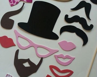 25 piece Mustace Party Pack, Moustache Party Pack, Photo Booth Props, Customized Photo Booth Party Pack, Moustache and Lips, Beards