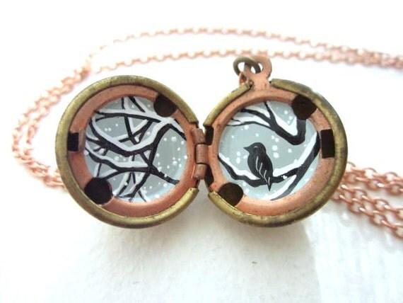 Snow Bird Locket, Unique Pendant Necklace - Hand-Painted Silhouette, Bird Lover Gift