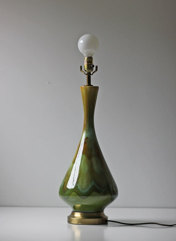 Olive Green Drip Glaze Ceramic Table Lamp