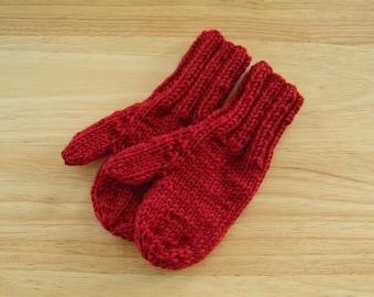 Child Wool Mittens Small Hand Knit Terra Cotta