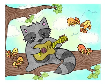 Ukulele Raccoon  8 x 10 Illustration Print