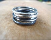 Set of Five Sterling Silver Textured Stacking Rings. Oxidized and Shiny Thick Rings. Gift for Her