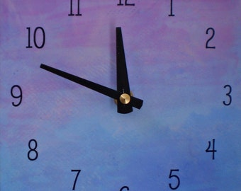 Purple and Blue Clock, Contemporary Clock, Wall Clock, Functional Art, Funky Clock, Chic Clock