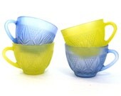 vintage Firna Glass Tea Cups /  Etched Glass Cups / Bright Colored Glass Cups