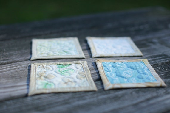 quilted coasters - light mix