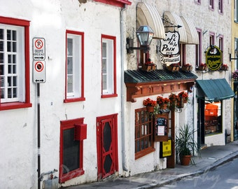 Old Quebec City Travel Photography Vieux Quebec City Canada Cafe De La Paix Print Wall Art Red White Home decor Street Art 5x7, matted, 8x10