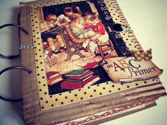 School Days Vintage Style Premade Scrapbook /Journal /Art Journal/ Heirloom Album