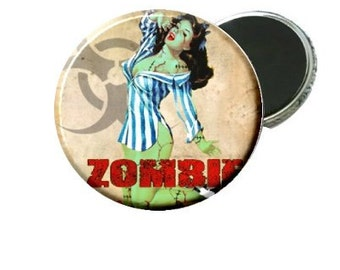 Stripe Top Pin Up Zombie Image Magnet