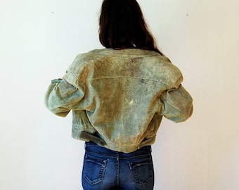vintage CROP leather jacket / 1980s FOREST GREEN cafe jacket