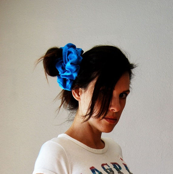 vintage SCRUNCHIE hair accessory  / 1980s oversized pony tail holder