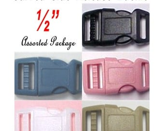 20 BUCKLES - Assorted Package, CURVED Side Release, 1/2 inch, Strap Buckle, Polyacetal Plastic, Adjustable