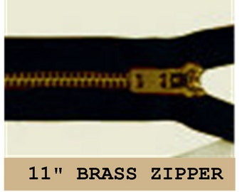 "YKK JEAN Zippers - 11"" - Brass - Metal - Black - 10 ZIPPERS - size 4.5 or 5"